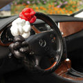Auto Car Steering Wheel Cover Flower genuine leather Diameter 15 inch 38CM - Black