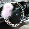 Auto Car Steering Wheel Cover Fur Ball Leopard Faux Leather Diameter 15 inch 38CM - Pink