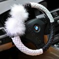 Auto Car Steering Wheel Cover Fur Ball Polyester Diameter 15 inch 38CM - Black White