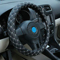 Auto Car Steering Wheel Cover Grid pattern PU leather Diameter 15 inch 38CM - Black White