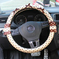 Auto Car Steering Wheel Cover Lace Dots Satin cotton Diameter 15 inch 38CM - Coffee