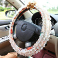 Auto Car Steering Wheel Cover Lace Floral Polyester Diameter 15 inch 38CM - Orange