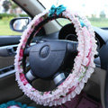 Auto Car Steering Wheel Cover Lace Floral Polyester Diameter 15 inch 38CM - Pink