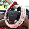 Auto Car Steering Wheel Cover Lace Floral Polyester Diameter 15 inch 38CM - Red