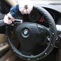 Auto Car Steering Wheel Cover Lace Flower Imitation sheepskin Diameter 15 inch 38CM - Black