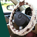 Auto Car Steering Wheel Cover Lace Plaid Bowknot Polyester Diameter 15 inch 38CM - Coffee