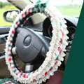 Auto Car Steering Wheel Cover Lace Plaid Bowknot Polyester Diameter 15 inch 38CM - Green Red