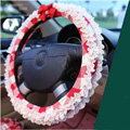 Auto Car Steering Wheel Cover Lace Plaid Bowknot Polyester Diameter 15 inch 38CM - Red