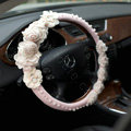 Auto Car Steering Wheel Cover Lace Rose Pearl Deerskin Diameter 15 inch 38CM - Pink