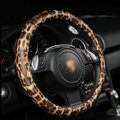 Auto Car Steering Wheel Cover Leopard PU leather Diameter 15 inch 38CM - Brown
