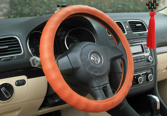 buy wholesale auto car steering wheel cover pu leather diameter 15 inch 38cm orange from. Black Bedroom Furniture Sets. Home Design Ideas