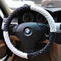 Auto Car Steering Wheel Cover Polyester Diameter 15 inch 38CM - Black White