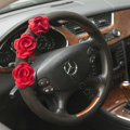 Auto Car Steering Wheel Cover Rose Deerskin Diameter 15 inch 38CM - Red Black
