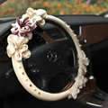 Auto Car Steering Wheel Cover Rose Pearl Deerskin Diameter 14 inch 36CM - Beige
