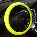 Auto Car Steering Wheel Cover Weave Microfiber leather Diameter 15 inch 38CM - Fluorescent Yellow