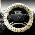 Auto Car Steering Wheel Cover Zebra Plush Diameter 15 inch 38CM - Beige