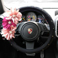 Auto Car Steering Wheel Cover pink Flower Imitation sheepskin Diameter 15 inch 38CM - Black