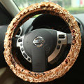 Retro Auto Car Steering Wheel Cover Floral Lace Cotton Diameter 15 inch 38CM - Brown