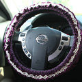Retro Auto Car Steering Wheel Cover Floral Lace Cotton Diameter 15 inch 38CM - Purple