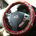 Retro Auto Car Steering Wheel Cover Floral Lace Cotton Diameter 15 inch 38CM - Red