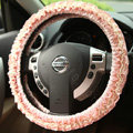 Retro Auto Car Steering Wheel Cover Rose Lace Cotton Diameter 15 inch 38CM - Pink