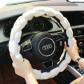 Yle Auto Car Steering Wheel Cover Plush Diameter 15 inch 38CM - White