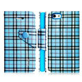 IMAK Flip leather case plaid pattern book Holster cover for Apple iPhone 5S - Blue