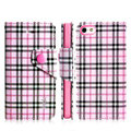 IMAK Flip leather case plaid pattern book Holster cover for Apple iPhone 5S - Pink