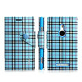 IMAK Flip leather case plaid pattern book Holster cover for Nokia Lumia 925T 925 - Blue