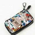Crown Crystal Auto Key Bag Perfume bottle Genuine Leather Car Key Case Pocket Key Chain - Black