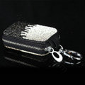 Luxury Crystal Auto Key Bag Pocket Genuine Leather Car Key Case Key Chain - Black