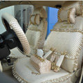 Ayrg Bowknot Dot Lace Universal Auto Car Seat Covers Plush Velvet Full Set 21pcs - Beige