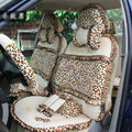 Ayrg Bowknot Leopard Lace Universal Auto Car Seat Covers Velvet Plush Full Set 19pcs - Beige