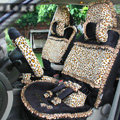 Ayrg Bowknot Leopard Lace Universal Auto Car Seat Covers Velvet Plush Full Set 19pcs - Black