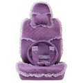 Lace flower Universal Automobile Car Seat Cover Velvet 18pcs - Purple