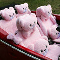 Mei Mei Bear Universal Automobile Car Seat Cover Camel Velvet Cushion 10pcs - Pink