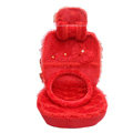 OULILAI Lace Bowknot Universal Automobile Car Seat Cover Cushion Plush 7pcs - Red