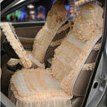 OULILAI Lace Flower Universal Automobile Car Seat Cover Ice silk Cushion 15pcs - Beige