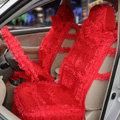 OULILAI Lace Flower Universal Automobile Car Seat Cover Ice silk Cushion 15pcs - Red