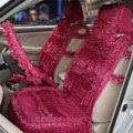 OULILAI Lace Flower Universal Automobile Car Seat Cover Ice silk Cushion 15pcs - Rose