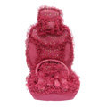 OULILAI Lace Flower Universal Automobile Car Seat Cover Velvet 21pcs - Rose