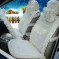 OULILAI Lace Tassel Universal Automobile Car Seat Cover Cushion Plush 15pcs - Beige