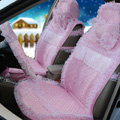OULILAI Lace Tassel Universal Automobile Car Seat Cover Cushion Plush 15pcs - Pink