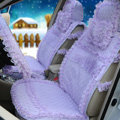 OULILAI Lace Tassel Universal Automobile Car Seat Cover Cushion Plush 15pcs - Purple
