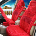OULILAI Lace Tassel Universal Automobile Car Seat Cover Cushion Plush 15pcs - Red