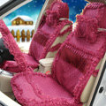 OULILAI Lace Tassel Universal Automobile Car Seat Cover Cushion Plush 15pcs - Rose