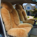 Universal Australia Genuine Sheepskin Car Seat Cover Sheep Wool Auto Cushion 4pcs Sets - Camel