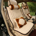 Universal Imitation Sheepskin Car Seat Cover Sheep Wool Leather Auto Cushion 8pcs Sets - Beige