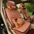 Universal Imitation Sheepskin Car Seat Cover Sheep Wool Leather Auto Cushion 8pcs Sets - Brown
