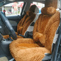 Universal Synthetic Sheepskin Car Seat Cover Sheep Wool Auto Cushion 6pcs Sets - Brown